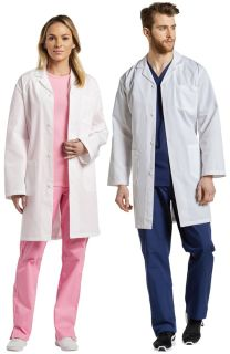 2068 Labcoat With Snap Button-White Cross
