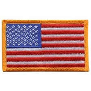 "U.S. Flag - 3-3/8 X 2"" Dark Gold Border-Hero's Pride"