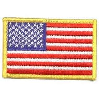 "U.S. Flag - 3-1/2 X 2-1/4"" - Med Gold Border"