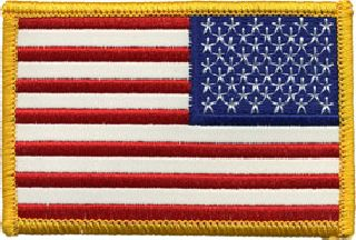 U.S. Flag - F/C-Reflective - Gold - 3-3/8 X 2-1/4