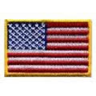 "U.S. Flag - 1-1/2 X 1"" - Med Gold - Heat Seal'able-Hero's Pride"