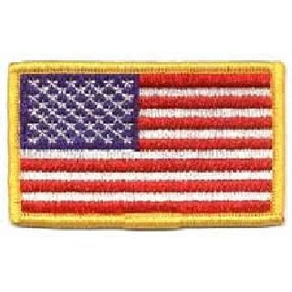 U.S. Flag - Med Gold Border - w/Hook - 3-3/8 X 2""