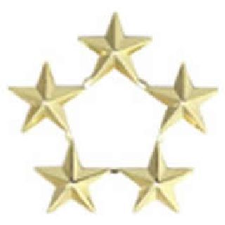 "Pairs - Five 7/16"" Star Cluster - 2 Clutch - Gold"