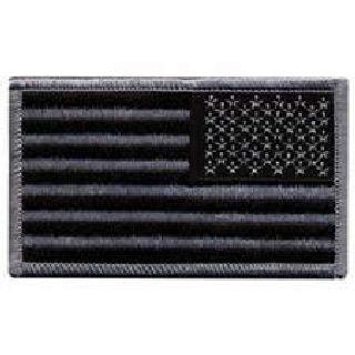 """U.S. Flag - Reversed - Silver Grey And Black - 3-3/8 X 2""""-Hero's Pride"""