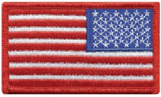 "U.S. Flag - Reverse - Red Border - 3-3/8 X 2""-"