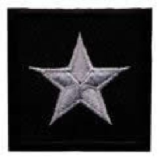 "Pairs - 1 Star General - Silver On Black - 1-1/2 X 1-1/2""-"