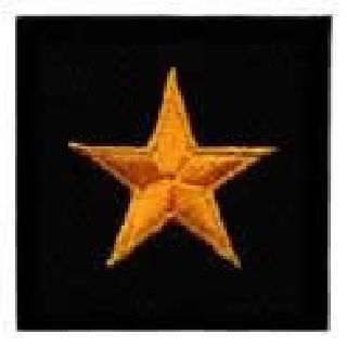 Pairs - 1 Star General - Dk Gold On Black - 1-1/2 X 1-1/2""