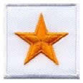 "Pairs - 1 Star Gen'l - Dk Gold On White - 1-1/2 X 1-1/2""-Hero's Pride"