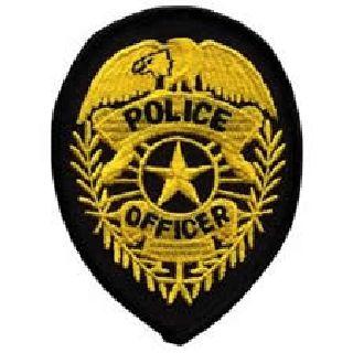Police Officer Badge - Gold On Black