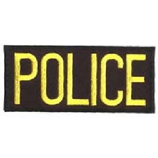 "Police - Med Gold On Black - 4 X 2"" - Heat Seal'able-"