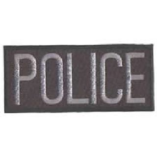 "Police - Dk Grey On Black - 4 X 2"" - Heat Seal'able"