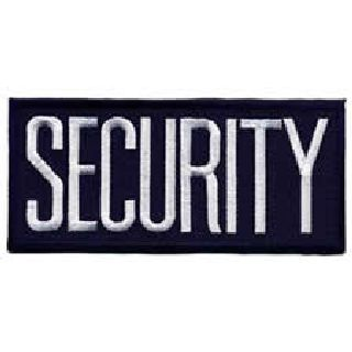"Security - White On Navy Blue - 4 X 2"" - Heat Seal'able-"