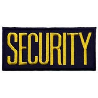 "Security - Med Gold On Navy - 4 X 2"" - Heat Seal'able-Hero's Pride"