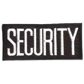 "Security - White On Black - 4 X 2"" - Heat Seal'able-Hero's Pride"