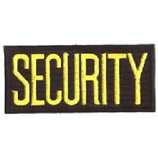 "Security - Med Gold On Black - 4 X 2"" - Heat Seal'able-"