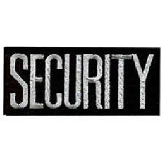 "Security - Dark Grey On Black - 4 X 2"" - Heat Seal'able-"
