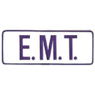 "E. M. T. - Royal Blue On White - Back Patch - 11 X 4""-"