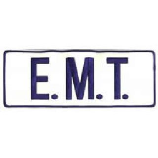 E M T - Royal On Reflective White - Back Patch-