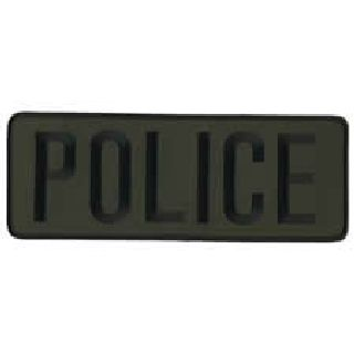 "Police - Black On O.D. - Back Patch - 11 X 4""-"