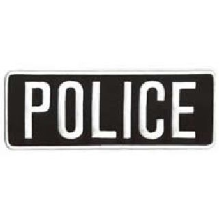 "Police - White On Black - Back Patch - 11 X 4""-Hero's Pride"