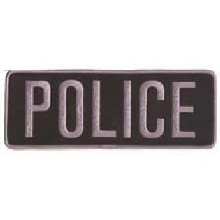 "Police - Dark Grey On Black - Back Patch - 11 X 4""-"