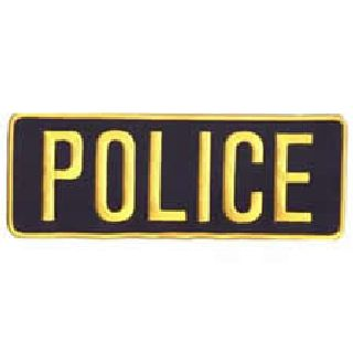 Police - Med Gold On Navy - Back Patch - 11 X 4""