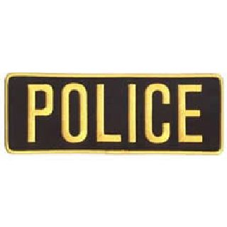 "Police - Med Gold On Black - Back Patch - 11 X 4""-Hero's Pride"