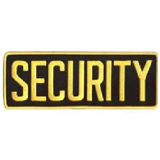 "Security - Med Gold On Black - Back Patch - 11 X 4""-"