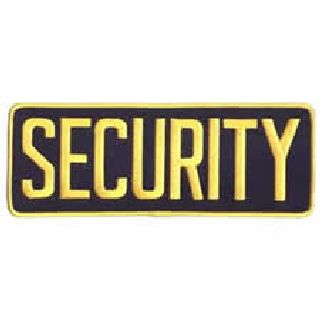 """Security - Med Gold On Navy Blue - Back Patch - 11 X 4""""-"""