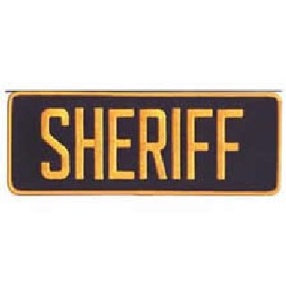 "Sheriff - Dark Gold On Navy - Back Patch - 11 X 4""-Hero's Pride"