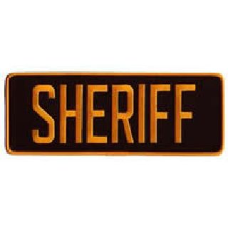"Sheriff - Dark Gold On Brown - Back Patch - 11 X 4""-Hero's Pride"