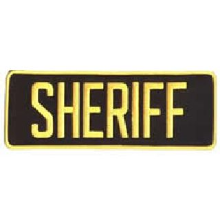 "Sheriff - Med. Gold On Black - Back Patch - 11 X 4""-Hero's Pride"