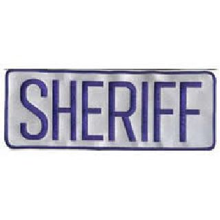 "Sheriff - Back Patch - Royal On Reflective Grey - 11 X 4""-Hero's Pride"
