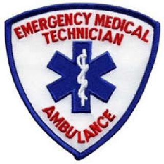 "Emergency Medical Technician w/Ambulance In Red - 3-9/16 X 3-9/16""-"