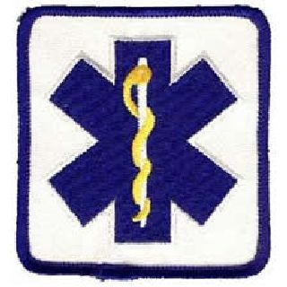 "Star Of Life - On White Twill - 2-7/8 X 3-1/8""-"