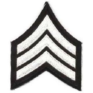 "Pr - Sgt - 3"" Wide - White On Black-Hero's Pride"