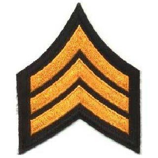 """Pr - Sgt - 3"""" Wide - Dk. Gold On Black-Hero's Pride"""