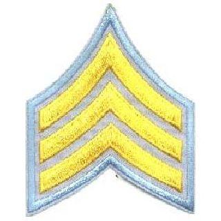 """Pr - Sgt - 3"""" Wide - Med Gold On Lt Blue-Hero's Pride"""
