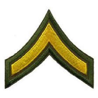 """Pr - Pfc - 3"""" Wide - Med Gold On Olive Drab-Hero's Pride"""