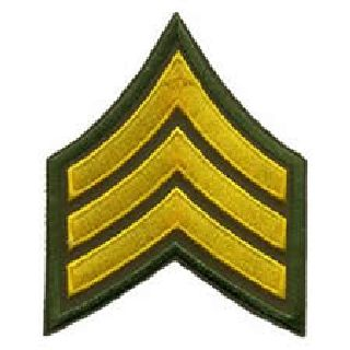 "Pr - Sgt - 3"" Wide - Med Gold On Olive Drab"