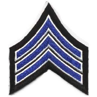 "Pr - Sgt - 3-1/2"" Wide - Royal w/White Edge On Black-"