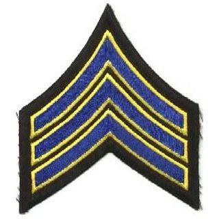 "Pr - Sgt - 3-1/2"" - Royal w/Med Gold Edge On Blk-Hero's Pride"