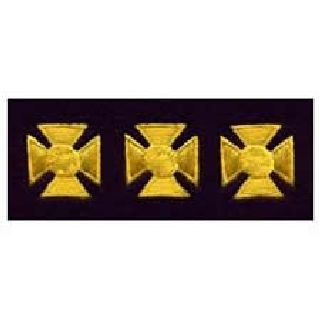 "Maltese Crosses - Continuous - Med Gold On Dk Navy Felt - 3/4""-Hero's Pride"