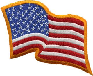 U.S. Flag - Wavy - Dark Gold Border - 3-1/4 X 2-1/4-