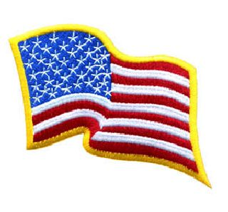 U.S. Flag - Wavy - Med Gold Border - 3-1/4 X 2-1/4""