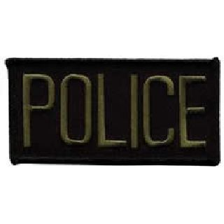"Police - O.D. On Black - 4 X 2"" - Sew-On-Hero's Pride"