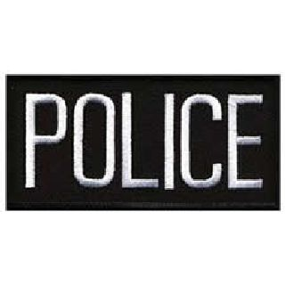 "Police - White On Black - 4 X 2"" - Sew-On-Hero's Pride"