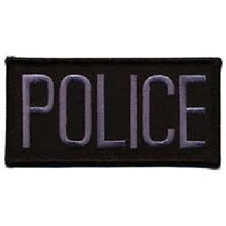 "Police - Dk Grey On Black - 4 X 2"" - Sew-On-"