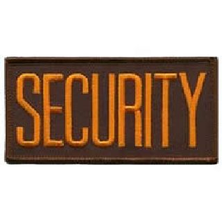 "Security Dk. Gold On Brown - 4 X 2"" - Sew-On-"