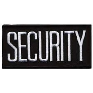 "Security - White On Black - 4 X 2"" - Sew-On-"